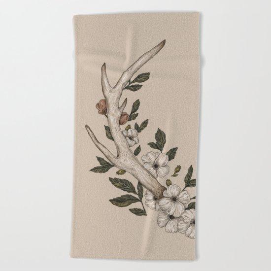 Floral Antler Beach Towel