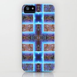 geometric ink blot and smudge ancient techno geek pattern iPhone Case