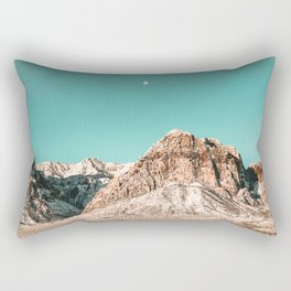 Vintage Red Rocks Moon // Mountain Range Snowcaps in Winter Desert Landscape Photograph Luna Sky Rectangular Pillow