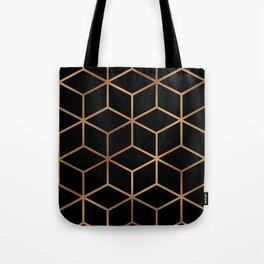 Black and Gold - Geometric Cube Design Tote Bag