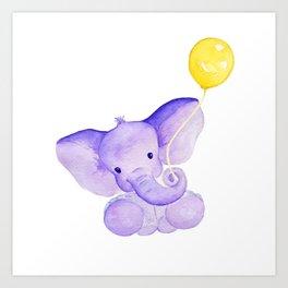 Baby Elephant with Balloon Art Print