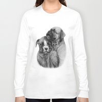 puppies Long Sleeve T-shirts featuring Boxer Puppies by Danguole Serstinskaja