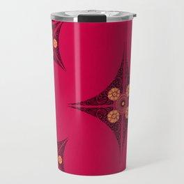 Pata Pattern in Black on Pink Travel Mug