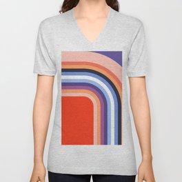 70s Stripes Rainbow 2 Unisex V-Neck