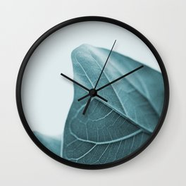 Teal Plant Leaves Wall Clock