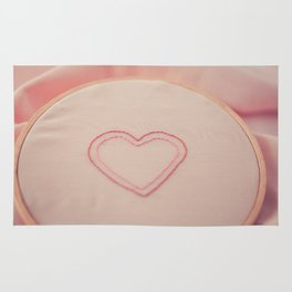 Heart Embroidery Rug