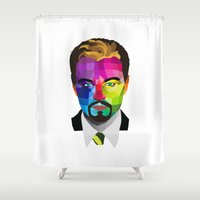 leonardo dicaprio Shower Curtains featuring Leonardo DiCaprio - popart portrait by Dep's
