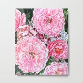 CELEBRATIONS - PEONIES GALORE- Original Fine art floral painting by HSIN LIN / HSIN LIN ART Metal Print