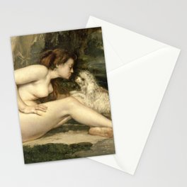 Puppy Love : Nude Woman with A Dog by Courbet Stationery Cards