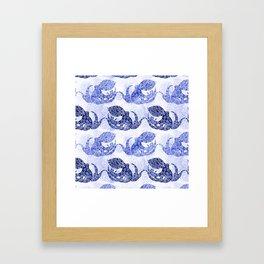 Mythic Octopus - Indigo Framed Art Print