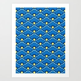 Deco Chinese Scallops, Ocean Blue and Indigo Art Print