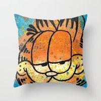 garfield Throw Pillows featuring Garfield by Brieana