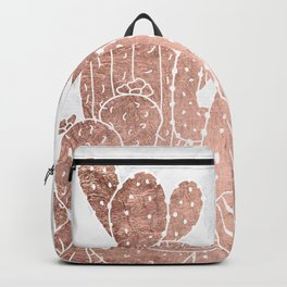 Modern faux rose gold cactus hand drawn pattern illustration white marble Backpack