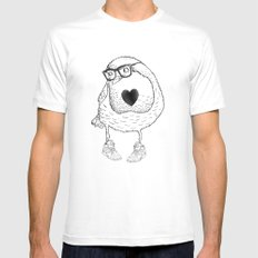 Love Bird White SMALL Mens Fitted Tee