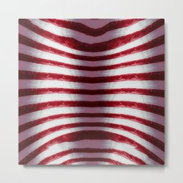 Red and White Organic Rib Cage Metal Print