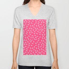 Pink Macaroni Pattern Unisex V-Neck