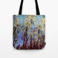 palm trees Tote Bags featuring Palm Trees by Loveurstyle