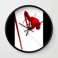 daredevil Wall Clocks featuring Daredevil Red by Birdskull Studios