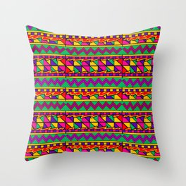 Latin American Pattern. Zigzag Squares Triangle Patterns. Colourful Pattern. Latin America. Funky Throw Pillow