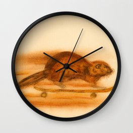 Rider  - Beaver skateboarder Wall Clock