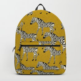 Zebra - zebra pattern, yellow, golden yellow, ochre, animals, nature, safari, zebra design, zebra curtains, zebra wall,  Backpack