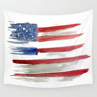 american flag Wall Tapestries featuring American Flag by Jenny Highsmith