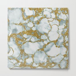 Painted Marble Texture with Gold Metal Print