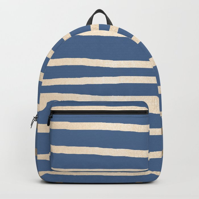 Simply Drawn Stripes White Gold Sands on Aegean Blue Backpack