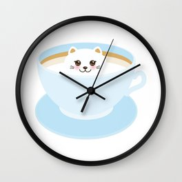 Cute Kawai cat in blue cup Wall Clock