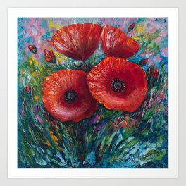 Red Poppies Oil Painting with a Palette Knife Art Print