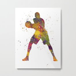Basketball player 03 in watercolor Metal Print