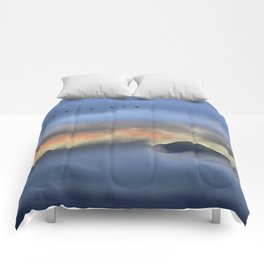"""""""Sunrise at the mountains"""". Birds in the morning. Comforters"""