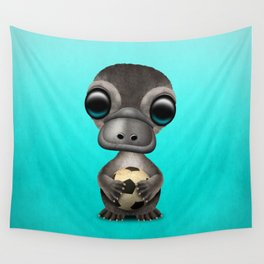 Cute Baby Platypus With Football Soccer Ball Wall Tapestry