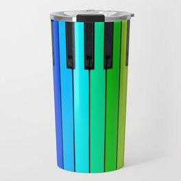 Rainbow Piano Keyboard  Travel Mug