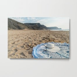 White Beach Hat, Summer Vacation, Holiday Time, Beauty Accessories, Sea And Ocean Relax, Mandala Metal Print