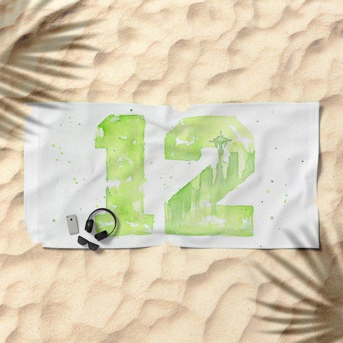 12th Man Seattle Art Beach Towel