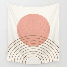 Pink Sun Mid-Century Full Wall Tapestry