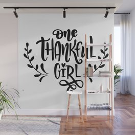 One Thankful Girl Thanksgiving Wall Mural
