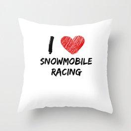 I Love Snowmobile Racing Throw Pillow