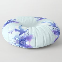 Watercolor sea ocean waves seascape with realistic birds, gulls, abstract water. Realism. Art. Floor Pillow