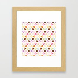 Happy Cute Donuts Pattern Framed Art Print