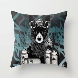 RAD RIDE and SPRAY CANS Throw Pillow