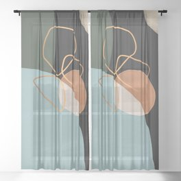 Geometric cosmos Sheer Curtain
