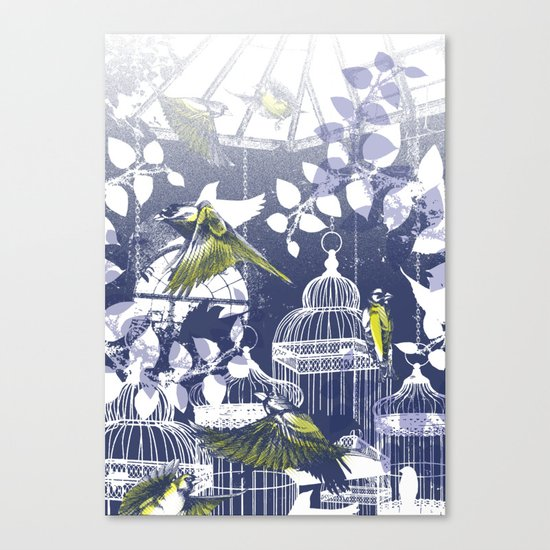Green Finch Green House Canvas Print