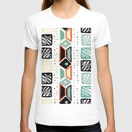 Abstract geometrical black orange ivory green squares polka dots T-shirt