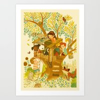 beastie boys Art Prints featuring Our House In the Woods by Teagan White