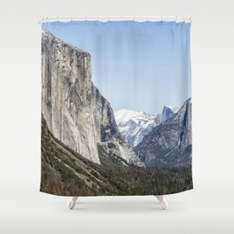 El Capitan, Half Dome and Sentinel Rock from Tunnel View Shower Curtain