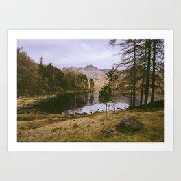 langdale pikes and blea tarn in winter. lake district, uk Art Print