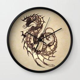 """Tsunami"" by Amber Marine ~ Sea Dragon ~ Graphite & Charcoal Illustration, (Copyright 2005) Wall Clock"