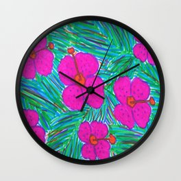 Hawaii Dreams Hibiscus Print Wall Clock